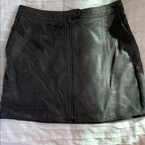 Free people zip up leather skirt